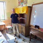 Jamie teaching on buddhist monastery