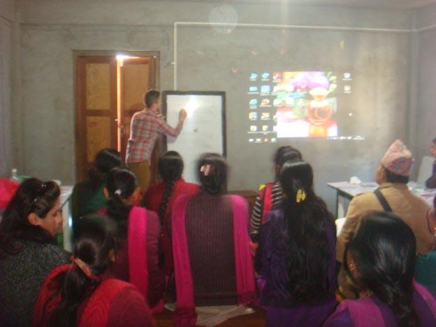 Volunteer giving teacher training