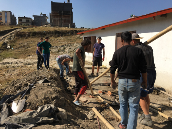 Volunteers at VIN volunteering for construction involved in septic tank construction